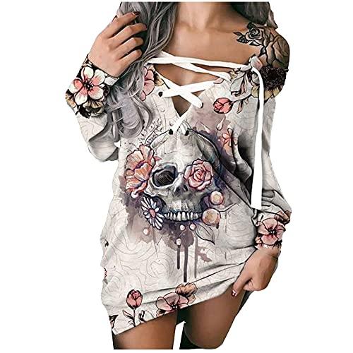 UEsent Vestido de mujer de manga larga con estampado sexy en un solo hombro, parte superior cruzada en el pecho, parte de arriba del vestido slilm, longitud media para otoño, todo a juego, Rosa-b, XXL