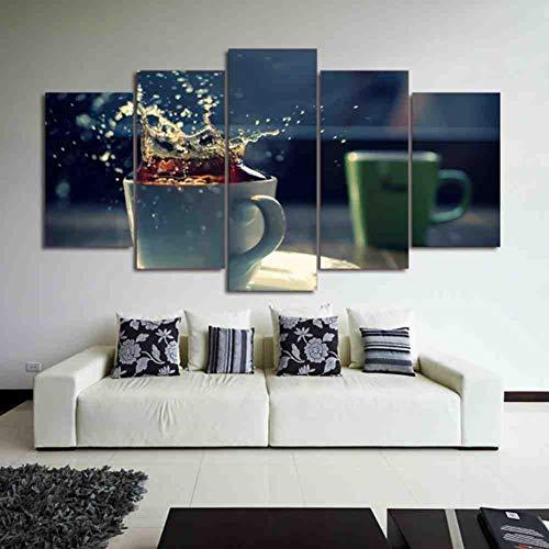 GIAOGE Moderne Home muurkunst decoratie frame modulaire afbeeldingen 5 stuks koffie thee kopje Hd gedrukt schilderij op canvas voor de woonkamer mit gerahmten 40x60 40x80 40x100cm