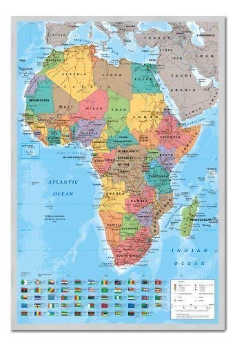 How to Africa Map Wall Chart Poster Magnetic Notice Board Silver