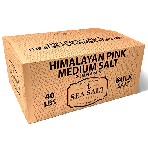 Himalayan Pink Salt, 2-3mm Grains, Bulk Ingredient Salts (40 Pound Box) - Perfect Multi-Purpose Salt - All-Natural, with No Artificial Additives - Use for Spa, Baking, Curing, Cooking, Finishing, Food