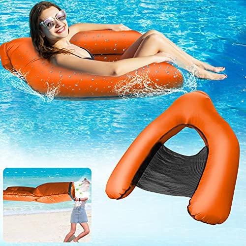 Luftmatratze Pool Stühle Wasser,Hammock Chair Floating Pool Wasserstuhl Aufblasbare Hängematte Matratze Schwimmstuhl Wasserliege Schwimmbädern Kinder Erwachsene Installation in 3 Sekunden-Orange