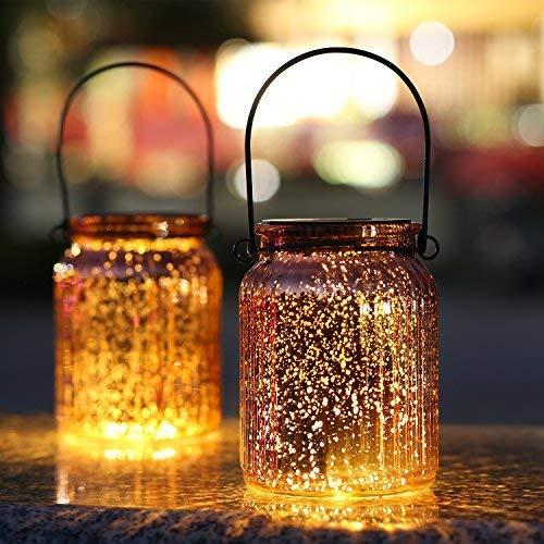 Solar Mercury Glass Jars 2 Pack Outdoor Table Lamps (Bronze)
