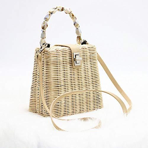 Natural Hand-Woven Rectangular Wicker Handbag Basket Purse Retro Summer Women Straw Tote,Beige