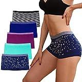 Women's Boyshort Underwear Seamless Boxer Panties No Show boyshort Panty Breathable Stretch Boxer Briefs for Ladies 5 Pack