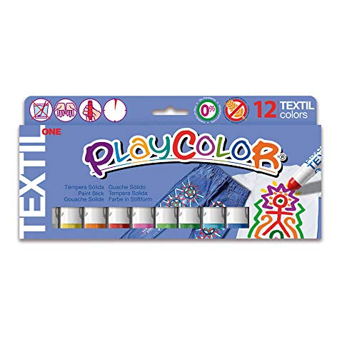PLAYCOLOR - TEXTIL ONE - Stick de peinture gouache solide 10 g - 12 couleurs assorties