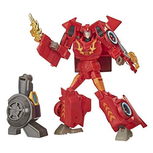 Transformers Cyberverse Bumblebee Adventures Deluxe Class Hot Rod Figura de acción de Juguete, con Pieza de construcción de una Figura, para Edades de 6 y más, 5 Pulgadas