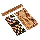 planuuik 9 unids/Set DIY Bamboo Sushi Maker Kit Cortina Rolling Mats Rice Paddle Palillos