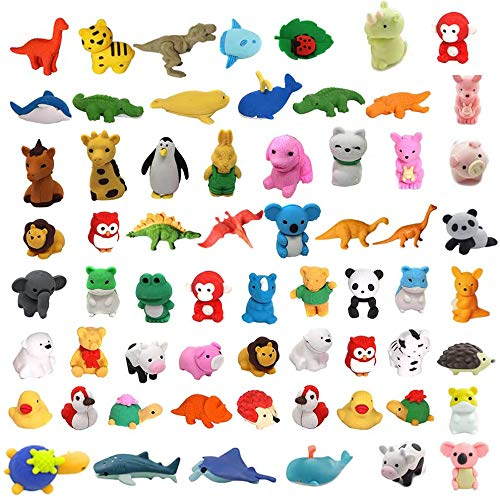 62Pcs Animal Erasers Bulk Kids Pencil Erasers Puzzle Eraser Toys Mini Novelty Erasers for Party Favors, Classroom Rewards, Games Prizes, Carnival Gifts and School Supplies