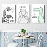 Lorcoo Cuadros Infantiles, Juego de 3 pósteres para habitación de bebé laminas para cuadros infantiles animales, DINA4 sin marco, Decoración para niñas y niños