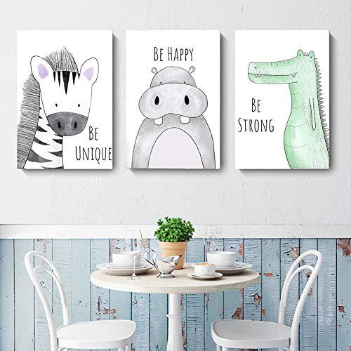 Lorcoo Cuadros Infantiles, Juego de 3 posteres para habitacion de bebe laminas para cuadros infantiles animales, DINA4 sin marco, Decoracion para ninas y ninos