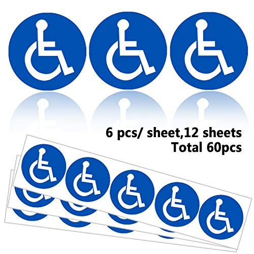 Disabled Wheelchair Symbol Labels | Handicap Signs Stickers 2 inch Round Convenient Decals for Handicapped Parking 60 pcs Photo #4