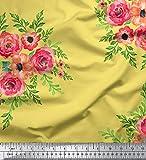 Soimoi Gelb Schwerer Canvas-Gewebe-Blumen mit Blumenmuster