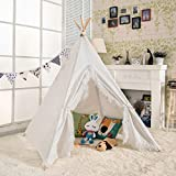 AniiKiss 6' Giant Canvas Kids Play Teepee Children Tipi Anti-Collapse Play Tent - White with Lace Edge