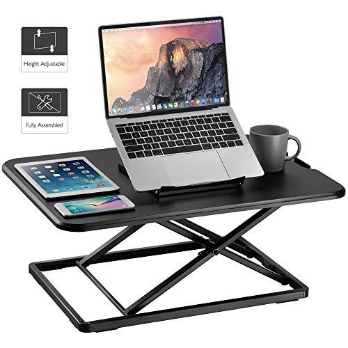 BONTEC Ergonomischer Höhenverstellbarer Steh-Sitz Schreibtisch Monitorständer Steharbeitsplatz Standtisch für PC-Computerbildschirm, Tastatur, Laptop | 65x47cm Plattform, 9,1kg Kapazität