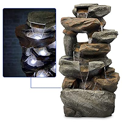 EasyGoProducts EGP-FTNOUT-1 6 Tier Rock Water Fountain with 6 LED Lights – Made from Fiberglass Re, Brown