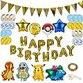 Colmanda Globo Pokémon, 37 Piezas Helium Foil Balloons Pokemon Pikachu Globos de Fiesta Aluminio Globo Suministros de Fiesta para Niños Decoraciones Suministros de Colmanda