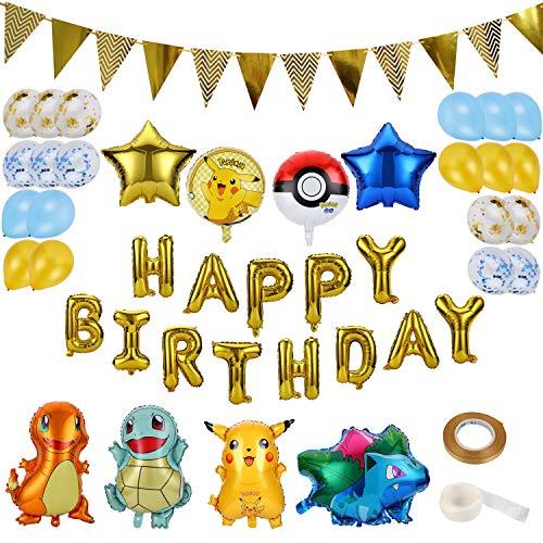 Colmanda Luftballons Geburtstag, 35 Stück Luftballons Folienballons Pikachu Ballons Helium Luftballons Buchstabenballons mit Bändern und Transparenten Aufklebern für Geburtstag Dekoration