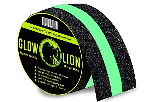 Non-Slip Glow in The Dark Tape | Anti Slip Adhesive Grip for Stairs and Gaffers | 2 Inches Wide by 14 Feet Long | Glow-in-The-Dark