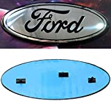 2004-2014 silver F150 Front Grille Tailgate Emblem, Oval 9'X3.5', Dark Blue Decal Badge Nameplate Fits for 04-14 F250 F350, 11-14 Edge, 11-16 Explorer, 06-11 Ranger (silver di black zi)