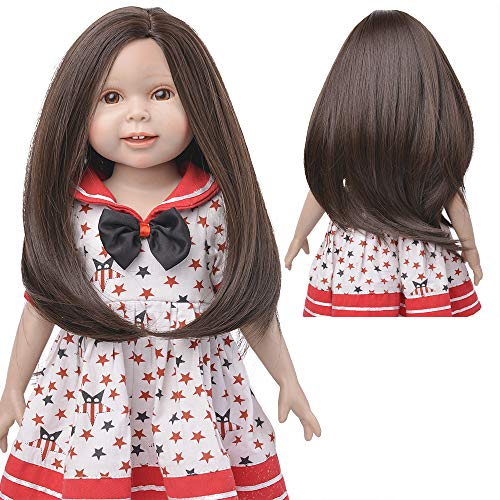 MUZI WIG 18 Inch Doll Hair Wigs, Heat Resistant Long Straight Replacement Wigs for 18'' Dolls DIY Making Supplies (6)