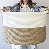 INDRESSME XL Groß Wäschekorb aus Baumwolll für Decken im Wohnzimmer Korb zur Aufbewahrung im Kinderzimmer - Weiß und Jute, 55 x 35 cm (D x H)