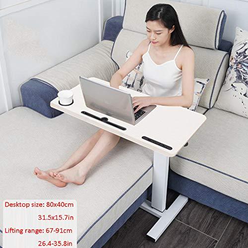 TTXP Stahlrohr Ständer Für Laptop mit Weißes Massivholzbrett,Höhenverstellbar, Rollen, USB,Verstellbarer Schreibtisch Zum Essen Und Laptops