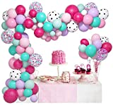 139Pcs Surprise Party Balloons Garland Arch Kit, Rose Red Pink Aqua Blue White Polka Dots Confetti Latex Balloon for Kids Girls Surprise Birthday Baby Shower Decorations Supplies & 4 Balloon Tools