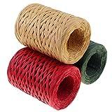 CREATRILL Raffia Ribbon Red Green Natural 3 Rolls 1080 Feet, 360 Feet Each Roll, Paper Twine Wrapping Ribbon...