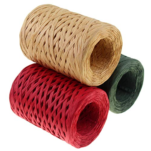 CREATRILL Raffia Ribbon Red Green Natural 3 Rolls 1080 Feet, 360 Feet Each Roll, Paper Twine Wrapping Ribbon for Christmas