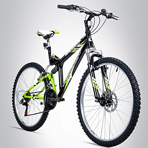 Bergsteiger Buffalo 26 Zoll Mountainbike, geeignet ab 155 cm, Scheibenbremse, Shimano 18 Gang-Schaltung, Vollfederung, Jungen-Fahrrad & Herren-Fahrrad