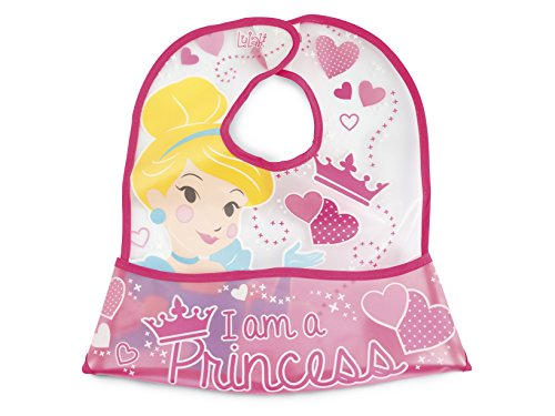 Lulabi Disney Princess Bavoir EVA avec Attache-Velcro, Rose
