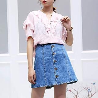 LX 2018夏季新款韩版复古港味荷叶边短袖娃娃衫上衣女