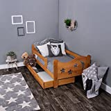 KAGU Chrisi Kinderbett Jugendbett Juniorbett Bett (140x70 cm oder 160x80 cm). Kiefernholz Massivholz inkl. Matratze und Schublade. (160 x 80 cm, Erle)