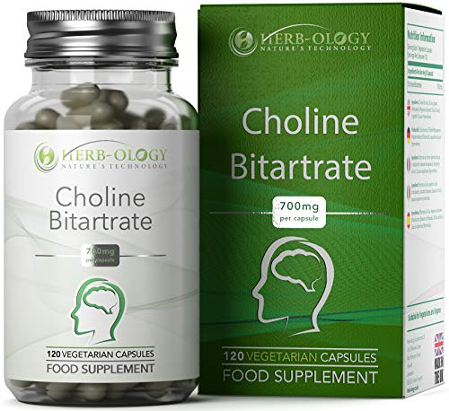 Herb-ology Choline Bitartrate Supplement - 700mg Potent Nootropic for Memory, Focus & Brain Performance Boost - Natural Liver Function Support - Non-GMO Pure Vegan Wellness Formula - 120 Capsules