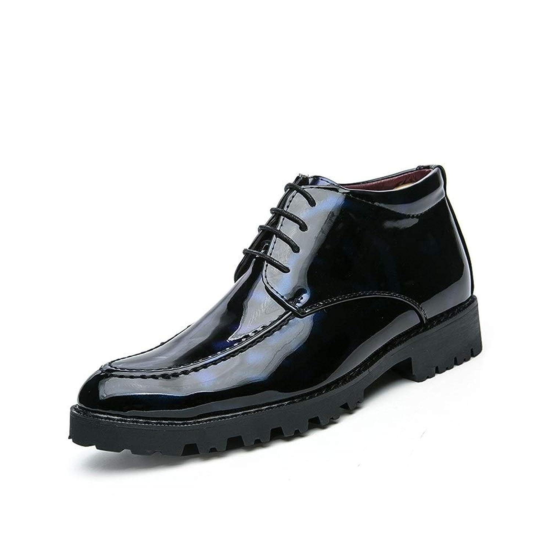 Tufanyu メンズビジネスオックスフォードカジュアル英国のパテントレザーの冬のブーツで豪華な暖かいハイヘルプフォーマルシューズ 丈夫 (Color : Warm Blue, サイズ : 24 CM)