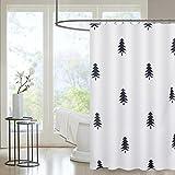 Htovila Duschvorhang Anti-Schimmel Wasserdicht mit 12 Duschvorhangringe aus Waschbar Polyester, 180 x 180 cm Bäume Muster