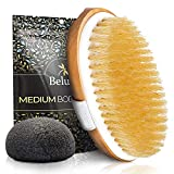 Dry Brushing Body Brush. Medium Soft Dry Brush for Cellulite and Lymphatic. For Beginners. Exfoliating Skin Brush and Free Konjac Sponge, for a Softer, Glowing Skin…