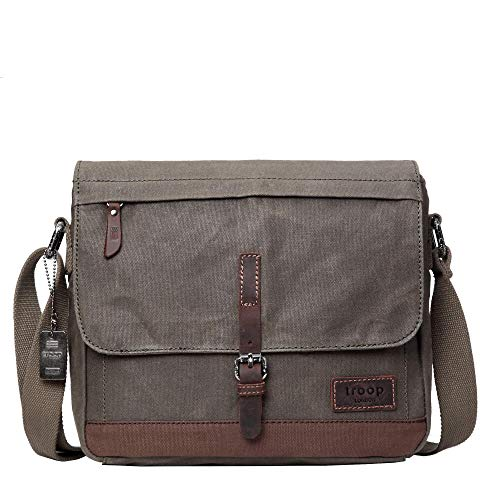 TRP0443 Troop London Heritage - Borsa a tracolla in tela, in pelle, ideale per tablet