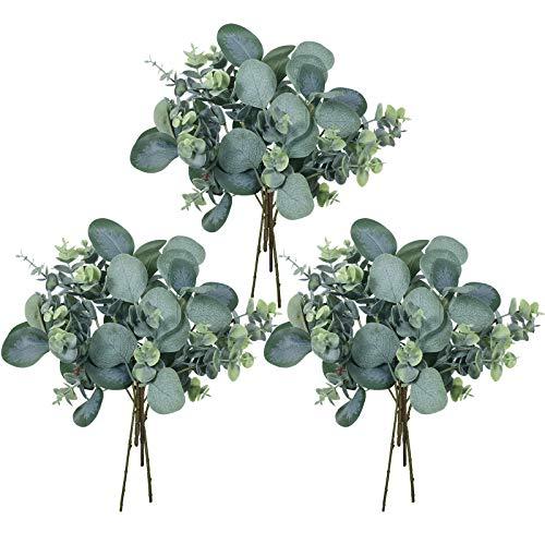 12 Pcs Mixed Eucalyptus Leaves Stems Artificial Silver Dollar Eucalyptus Leaves Picks Faux Eucalyptus Leaves Branches for Vase Bouquets Floral Arrangement Wreath Rustic Farmhouse Greenery Decoration