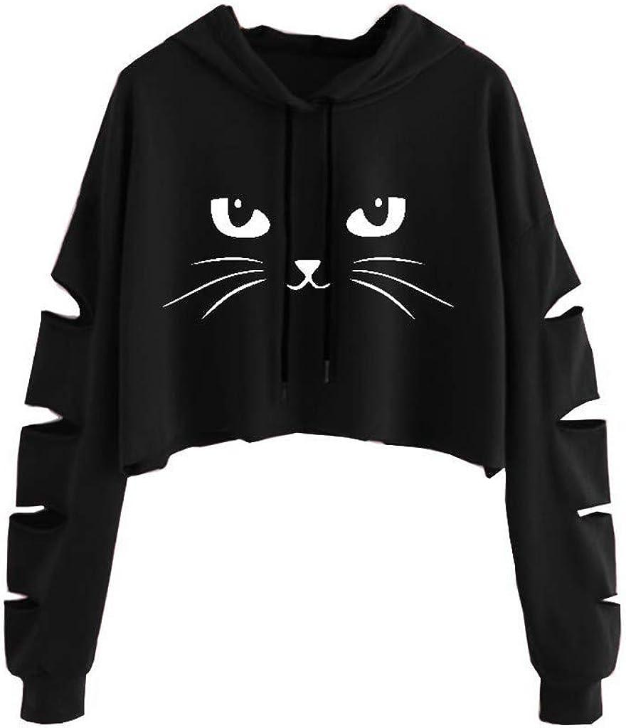 Girls' Hoodie, Misaky Pullover Sweatshirt Jumper Fashion Casual Cat Print Long Sleeve Short Hooded Blouse Tops