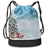 OKIJH Mochila Mochila de ocio Mochila con cordón Mochila multifuncional Bolsa de gimnasio Drawstring Gym Bag Shoe Festival Christmas Tree New Year Gym Drawstring Bags Backpack Sports String Bundle Bac