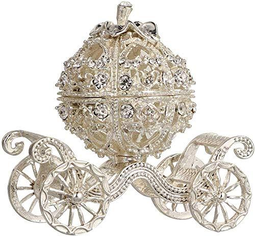 YYQLLXH Carro de calabaza, joyero de carro, organizador de exhibición de joyería pintado a mano, adorno de estatuilla coleccionable, adorno creativo, regalo para dama
