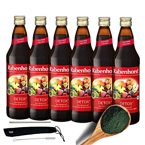 Rabenhorst Saft Detox 6x 700ml Vegan Bio-Mehrfrucht-Gemüsesaft mit Rote Bete, Matcha und Spirulina-Algen mit natürlichem Vitamin C PLUS fooodz-Trinkhalm Set mit Reinigungsbürste