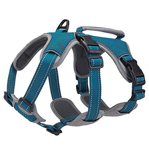 BELPRO Mehrzweck-Hundegeschirr, ausbruchsicher, kein Ziehen, reflektierend, verstellbare Weste mit strapazierfähigem Griff, Hundegeschirr für große/aktive Hunde (blau, M)