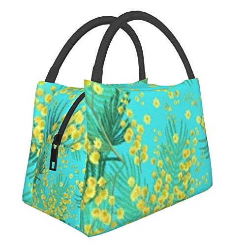 Bolsa de almuerzo portátil con aislamiento Cool (Flowers Mimosa On Blue) 8.5L