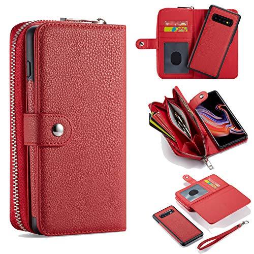 für Samsung Galaxy S20 + Plus Brieftaschen, Große Kapazität [Abnehmbar Magnetisch] 2-in-1 Ledertasche mit Reißverschluss und Handschlaufe, Ständer, Kartenhalter für Samsung Galaxy S20 Plus 2020 - Rot
