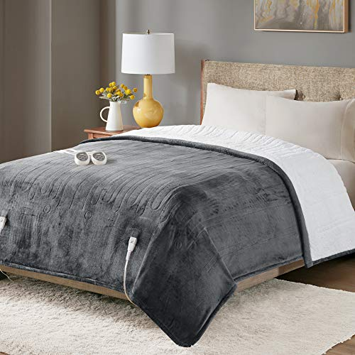 "Degrees of Comfort Sherpa Plush Dual Control Electric Blanket Queen Size, Heating Blankets | Washable | Automatic Shut Off | Double Zone, 20 Heat Settings | 84"" x 90"" Grey"