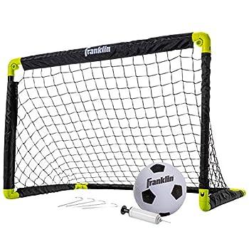 Franklin Sports Kids Mini Soccer Goal Set - Backyard/Indoor Mini Net and Ball Set with Pump - Portable Folding Youth Soccer Goal Set - 36  x 24   Black