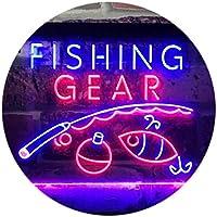 Fishing Gear Shop Open Display Dual Color LED看板 ネオンプレート サイン 標識 青色 + 赤色 600 x 400mm st6s64-i3145-br