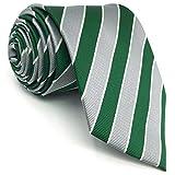 shlax&wing Classic Rayas Corbatas Para Hombre Gris Verde Traje de negocios Suit Jacquard Weave